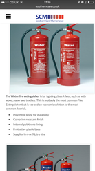 Fire Extinguisher page on iPhone