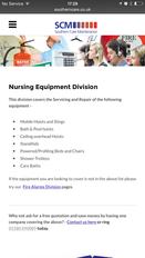 Nursing Equipment Division page on iPhone